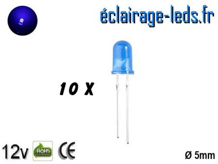 Lot de 10 LEDs bleues diffusante 8000 mcd 465 nm 15°
