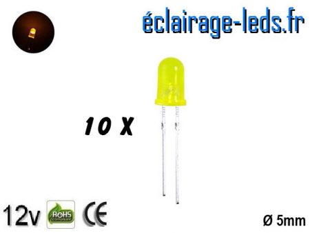 Lot de 10 LEDs jaunes diffusante 500 mcd 590 nm 30°