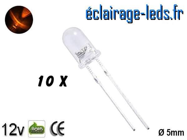 Lot de 10 LEDs oranges 2500 mcd 595 nm 30°