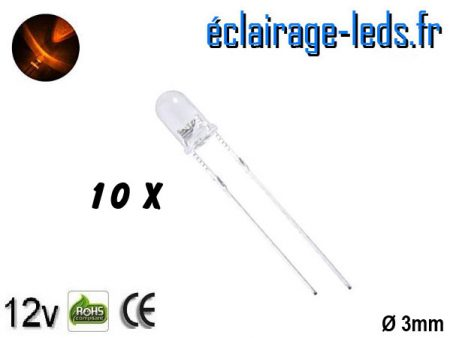 Lot de 10 LEDs oranges 600 mcd 590 nm 30°