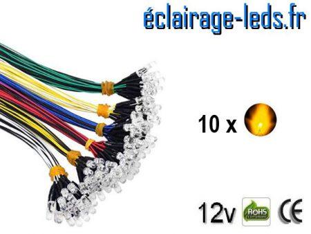 Lot de 10 LEDS oranges câblées 12v DC