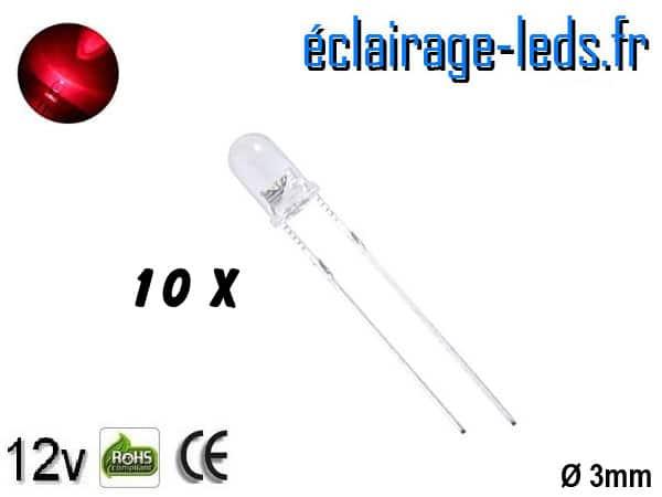 Lot de 10 LEDs rouges 1000 mcd 670 nm 30°