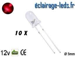 Lot de 10 LEDs rouges 3000 mcd 630 nm 30°