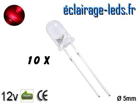Lot de 10 LEDs rouges 3000 mcd 630 nm 30°