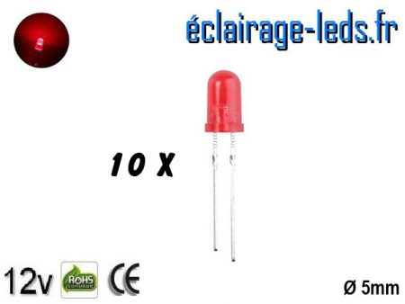 Lot de 10 LEDs rouges diffusante 500 mcd 30 nm 15°