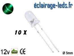 Lot de 10 LEDs vertes 1800 mcd 525 nm 30°