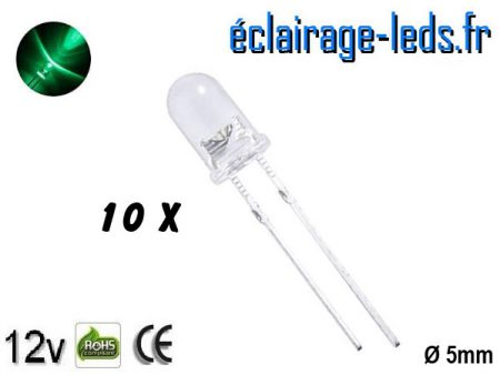 Lot de 10 LEDs vertes 1800 mcd 525 nm 30°