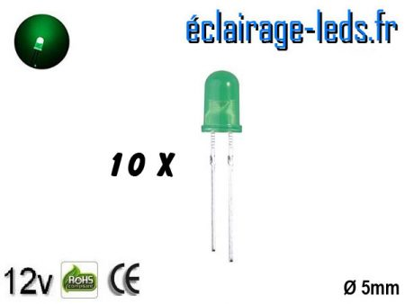 Lot de 10 LEDs vertes diffusante 5000 mcd 525 nm 30°