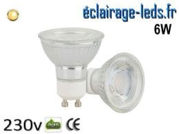Ampoule led GU10 6w COB blanc chaud 3000K 230v AC AC