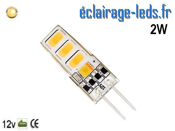 Ampoule led G4 2w SMD 2835 blanc chaud 3000K 12v