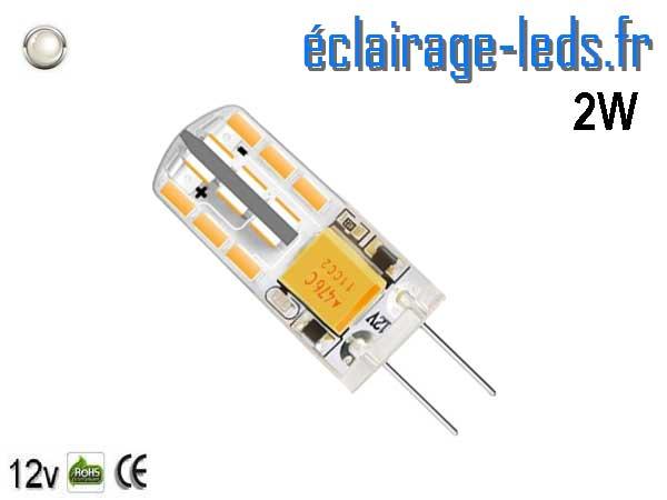 Ampoule led G4 2w SMD 3014 blanc 6000K 12v