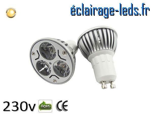 Ampoule led GU10 3w High Power blanc chaud 3000K