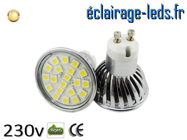 Ampoule led GU10 4w SMD 5050 blanc chaud 3000K