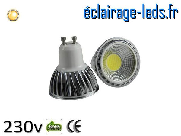 Ampoule led GU10 5w COB blanc chaud 3000K