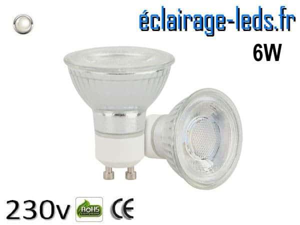 Ampoule led GU10 6w COB blanc naturel 4200K 230v AC