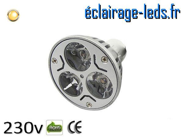 Ampoule led MR16 3*1w High Power blanc chaud 3000K 12v DC ref A118-3