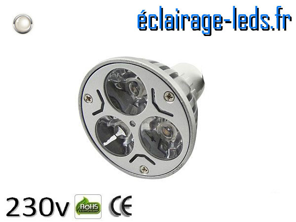 Ampoule led MR16 3*1w High Power blanc froid 12v DC