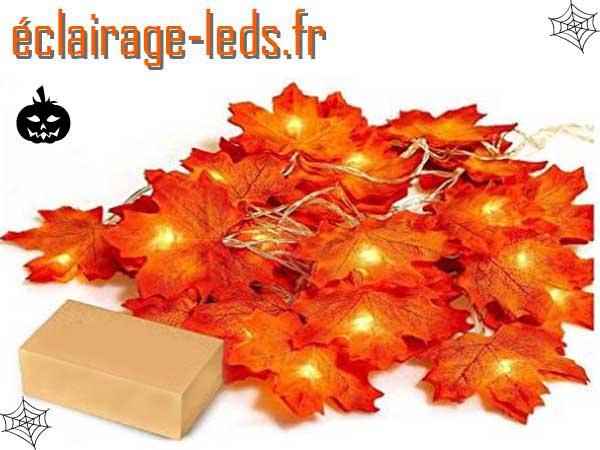 Guirlande Halloween 20 LED 2.20m feuille automne
