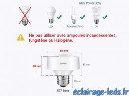 Kit de 2 douilles E27 commandées à distance Max 30w pour ampoules LED 1
