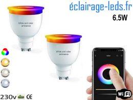 Ampoule LED GU10 Smart Wifi dimmable 6.5w Blanc & Couleurs