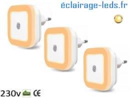 3 x Veilleuse LED crépusculaire Dimmable