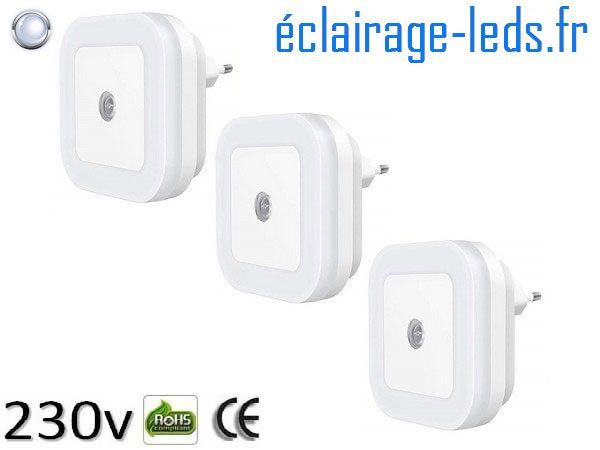 3 Veilleuses LED crépusculaire Dimmable