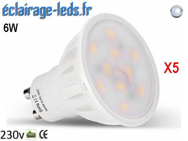 Lot de 5 ampoules led GU10 6W Blanc Froid 500lm Équiv 50W 120° 230v