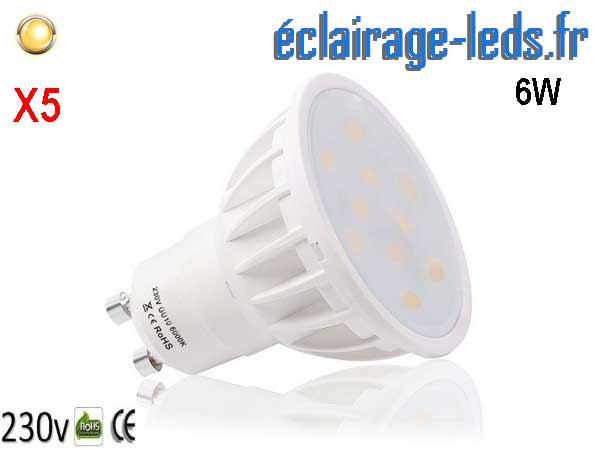5 ampoules led GU10 6W Blanc Chaud 120°
