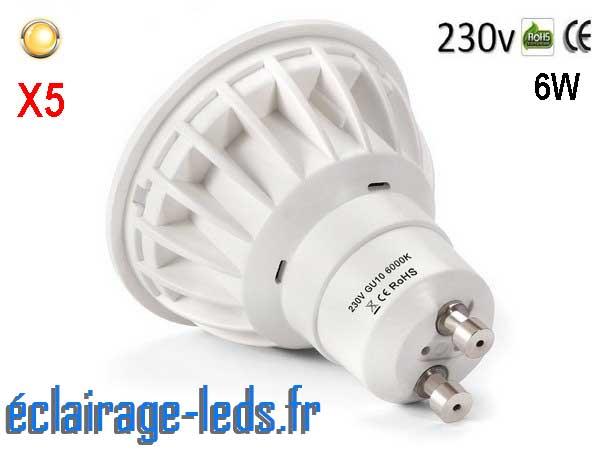 Lot de 5 ampoules led GU10 6W Blanc Chaud 500lm équiv 50W