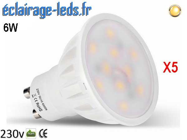 Lot de 5 ampoules led GU10 6W Blanc Chaud 500lm équiv 50W 120° 230v