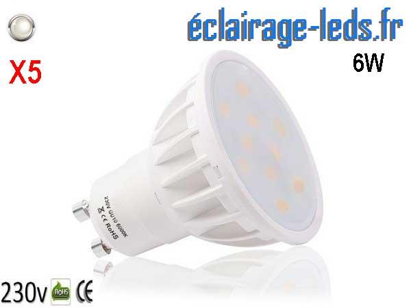 Lot de 5 ampoules led GU10 6W Blanc Naturel 120° 230v