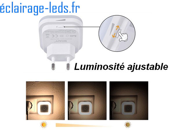6 x Veilleuse LED crépusculaire Dimmable sur prise