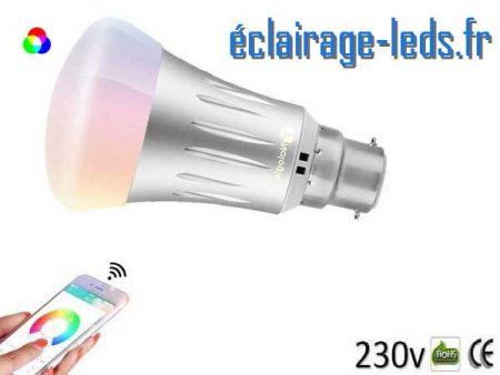 Ampoule LED B22 Smart Wifi dimmable 7w Blanc Chaud & Couleurs