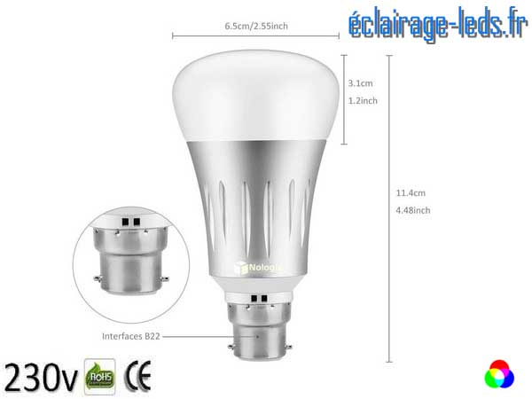 Ampoule LED B22 Smart Wifi dimmable 7w Blanc Chaud & Couleurs 2