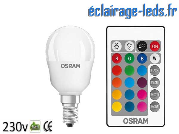 Ampoule LED E14 Multi-couleur Télécommandée 4,3W