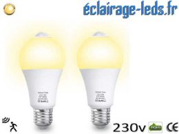 Lot de 2 ampoules LED E27 13 W Capteur de Présence
