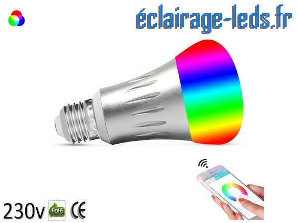 Ampoule LED E27 Smart Wifi dimmable 7w Blanc Chaud & Couleurs 1