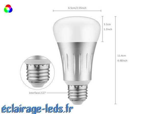 Ampoule LED E27 Smart Wifi dimmable 7w Blanc Chaud & Couleurs 2
