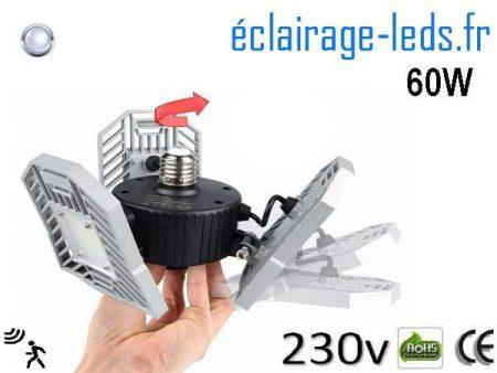 Ampoule led E27 plafonnier 60w blanc 6000K detecteur 230v 1