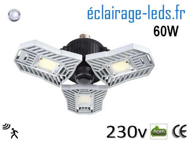 Ampoule led E27 plafonnier 60w avec detecteur 230v