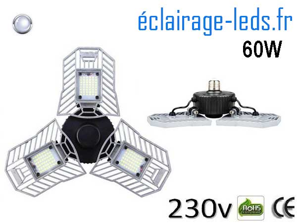 Ampoule led E27 plafonnier 60w SMD blanc 6000K 230v AC 2