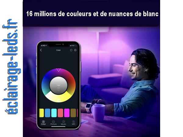 Ampoule LED GU10 Smart Wifi dimmable 6.5w Blanc & Couleurs 230v
