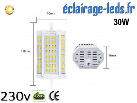Ampoule led R7S 30w dimmable Blanc Chaud 230v