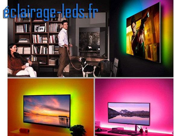 Bandeau LED RGB 2m Rétroéclairage TV + Micro Intégré Bluetooth. USB