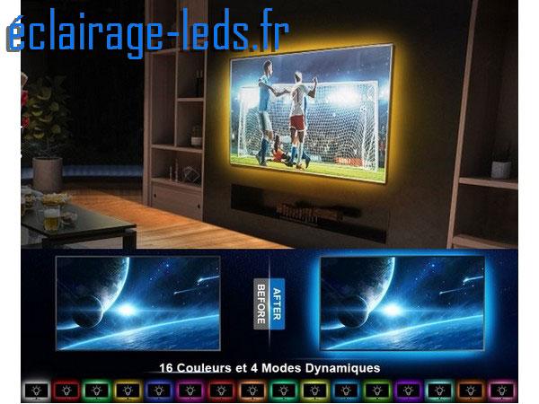 Bandeau LED RGB 2x50cm + 2x60 cm Rétroéclairage TV
