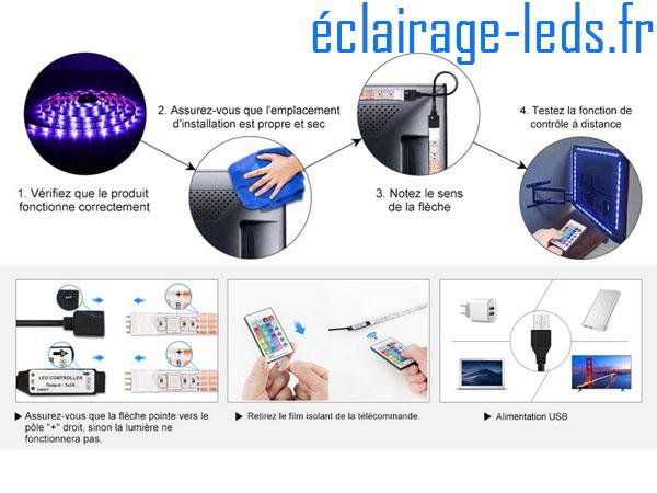 Bandeau LED RGB 2x50cm + 2x60 cm Rétroéclairage TV piloté IR USB