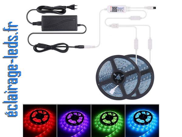 Bandeau LED RGB 2x5m étanche éclairage d'ambiance + Bluetooth 12v