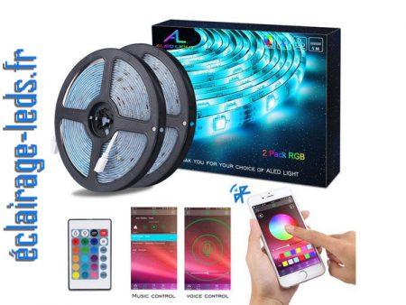 Bandeau LED RGB 2x5m étanche éclairage d'ambiance + Bluetooth