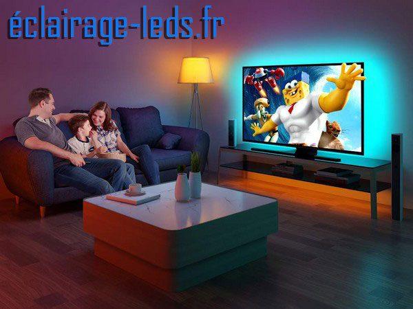 Bandeau LED RGB 4x50cm Rétroéclairage TV piloté en Bluetooth USB