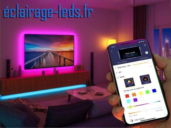 Bandeau LED RGB 4x50cm Rétroéclairage TV pilotable en Bluetooth. ref bl-03